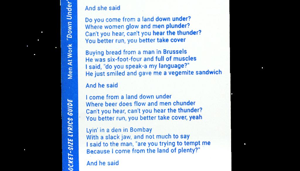 novelty_lyrics-down-under